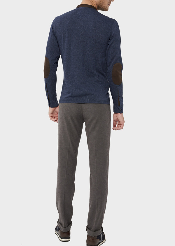 Polo manches longues Slim en coton uni bleu indigo - Father and Sons 36158