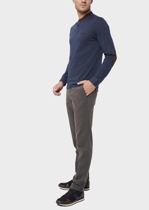 Polo manches longues Slim en coton uni bleu indigo - Father and Sons 36157