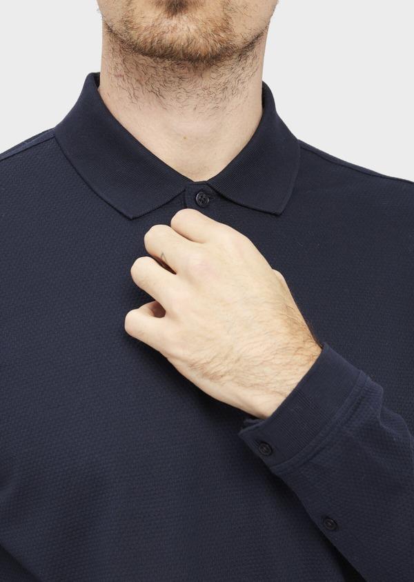 Polo manches longues Slim en coton uni bleu indigo - Father and Sons 37042