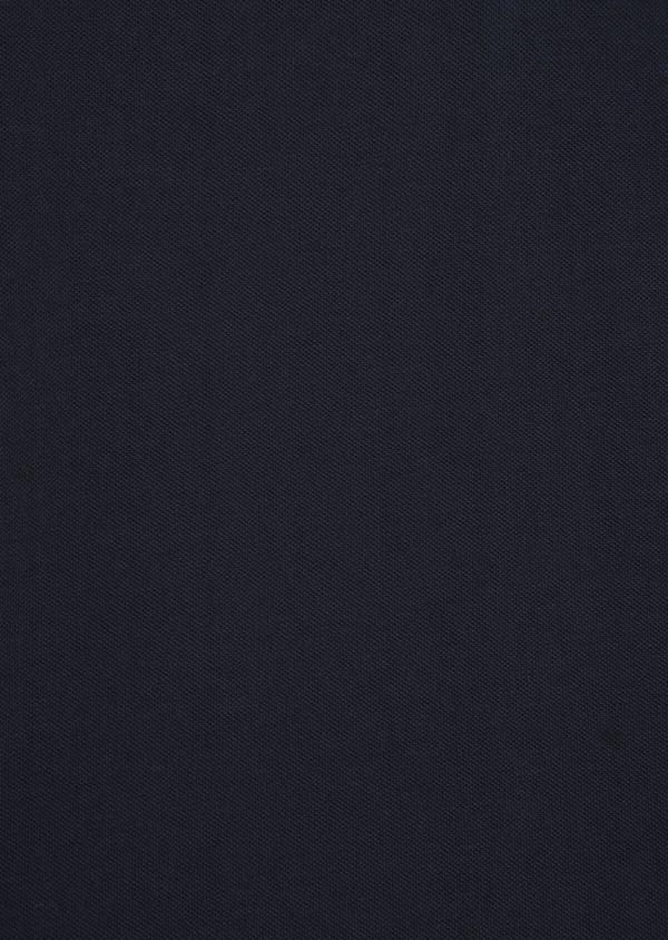 Polo manches longues Slim en coton uni bleu marine - Father and Sons 36408