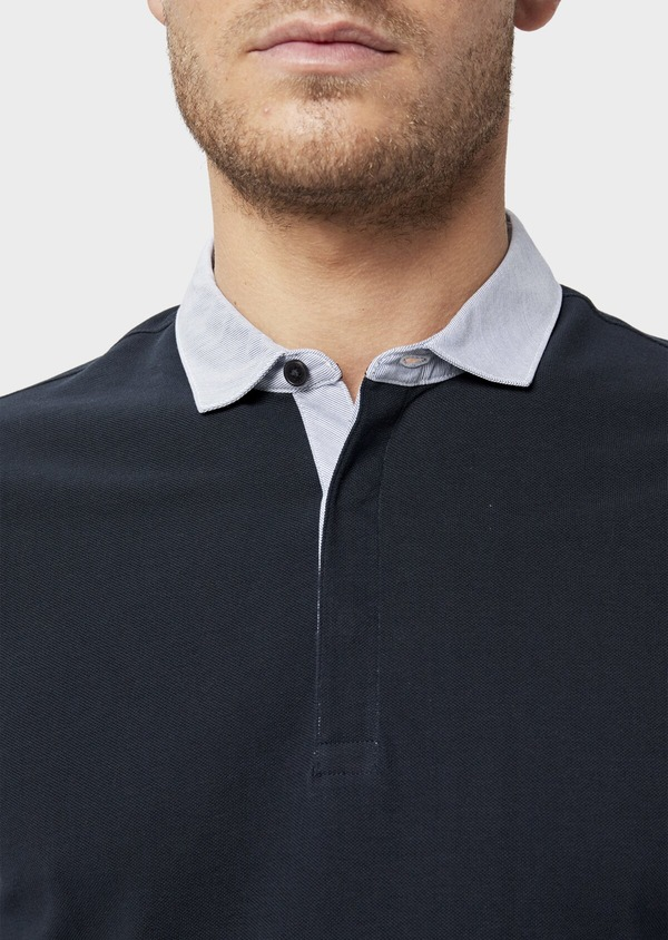 Polo manches longues Slim en coton uni bleu marine - Father and Sons 36411