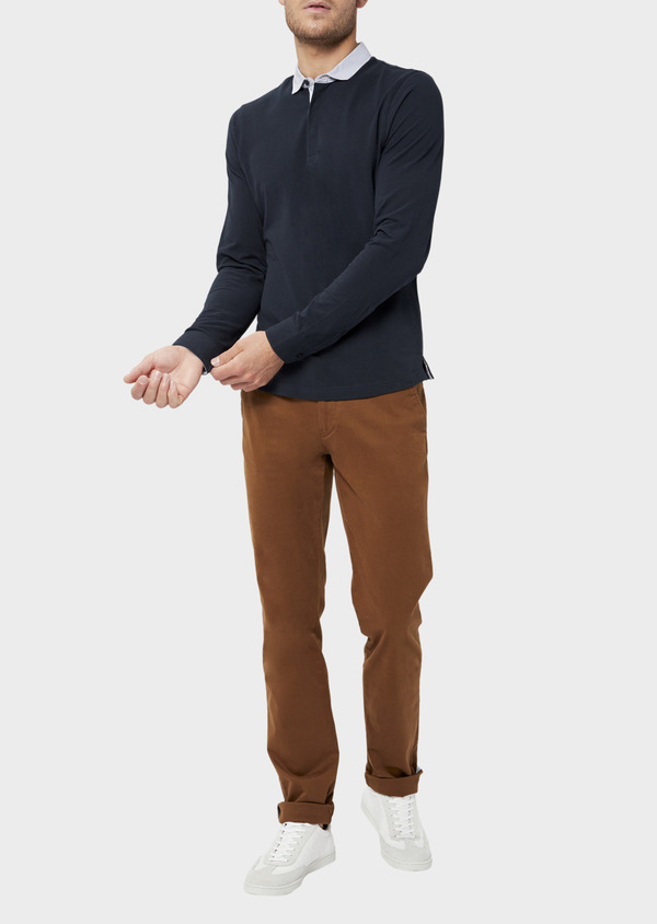 Polo manches longues Slim en coton uni bleu marine - Father and Sons 36409