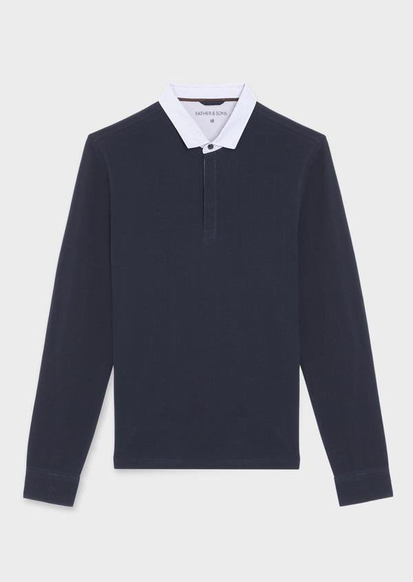 Polo manches longues Slim en coton uni bleu marine - Father and Sons 36407
