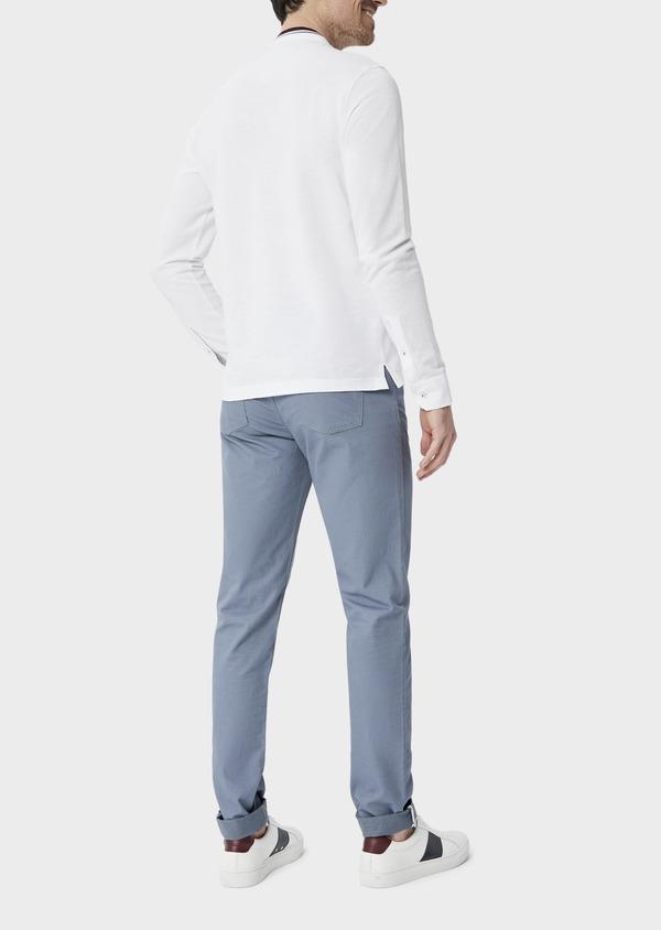 Polo manches longues Slim en coton uni blanc à col officier - Father and Sons 40208