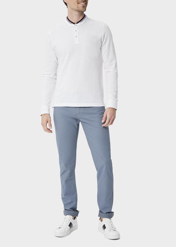 Polo manches longues Slim en coton uni blanc à col officier - Father and Sons 40207