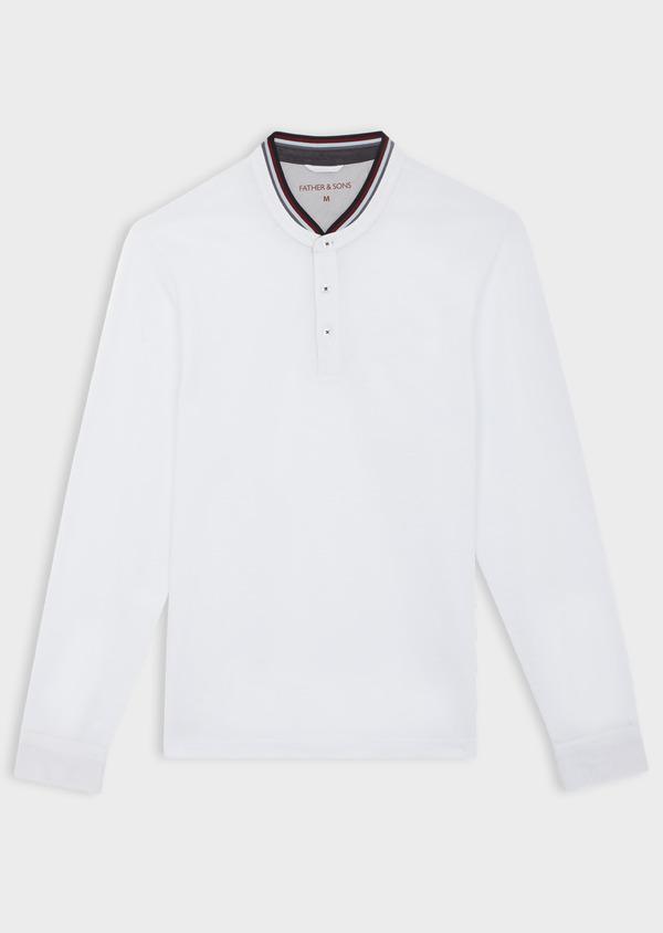 Polo manches longues Slim en coton uni blanc à col officier - Father and Sons 40205