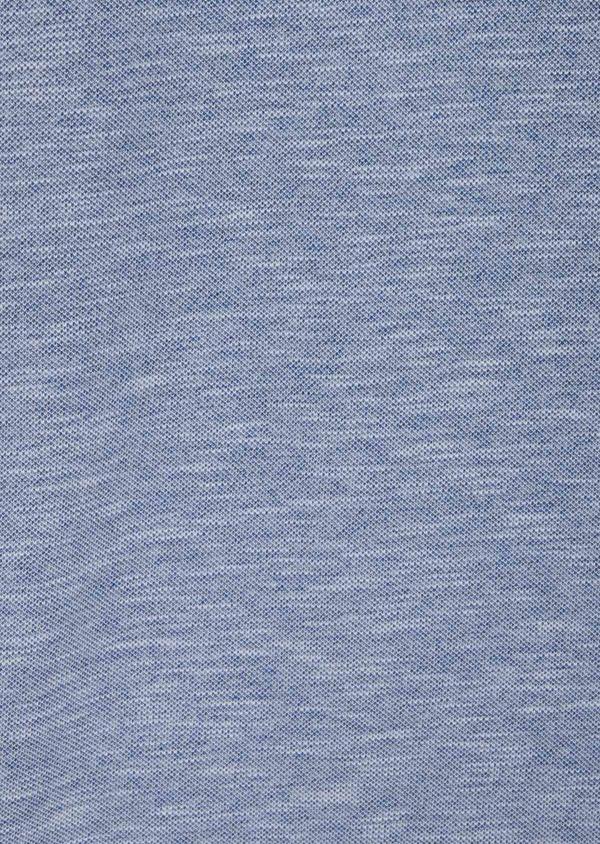 Polo manches longues Slim en coton uni bleu chambray - Father and Sons 40010