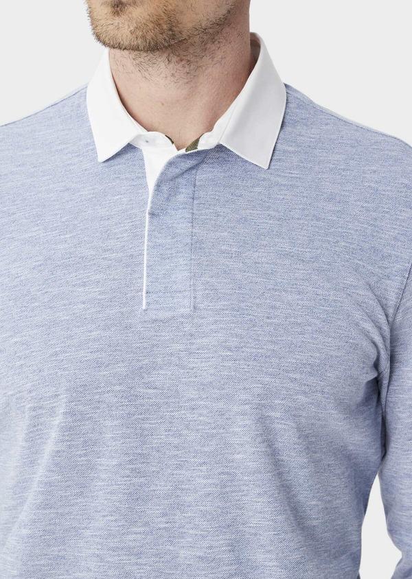 Polo manches longues Slim en coton uni bleu chambray - Father and Sons 40013