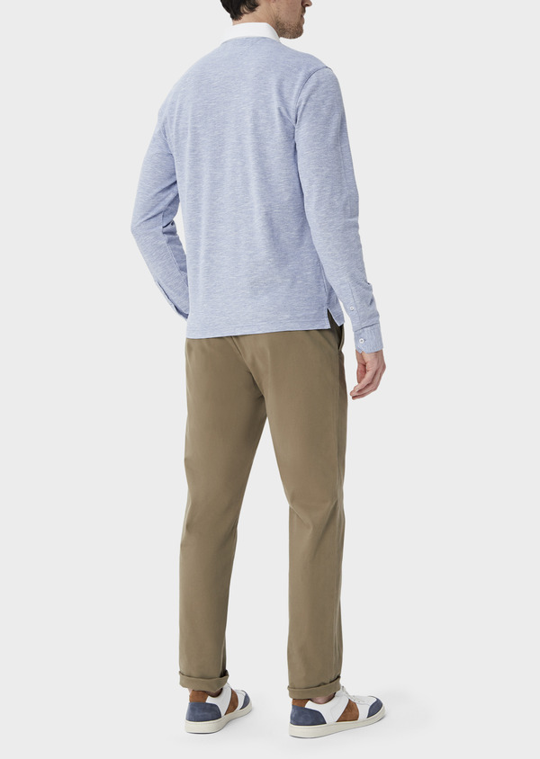 Polo manches longues Slim en coton uni bleu chambray - Father and Sons 40012