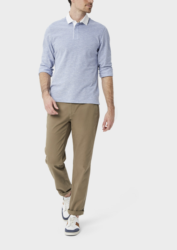 Polo manches longues Slim en coton uni bleu chambray - Father and Sons 40011