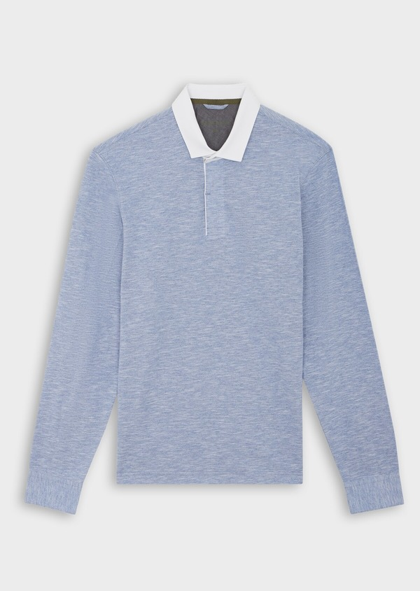 Polo manches longues Slim en coton uni bleu chambray - Father and Sons 40009