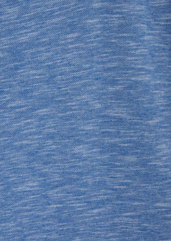 Polo manches longues Slim en coton uni bleu à col officier - Father and Sons 40020