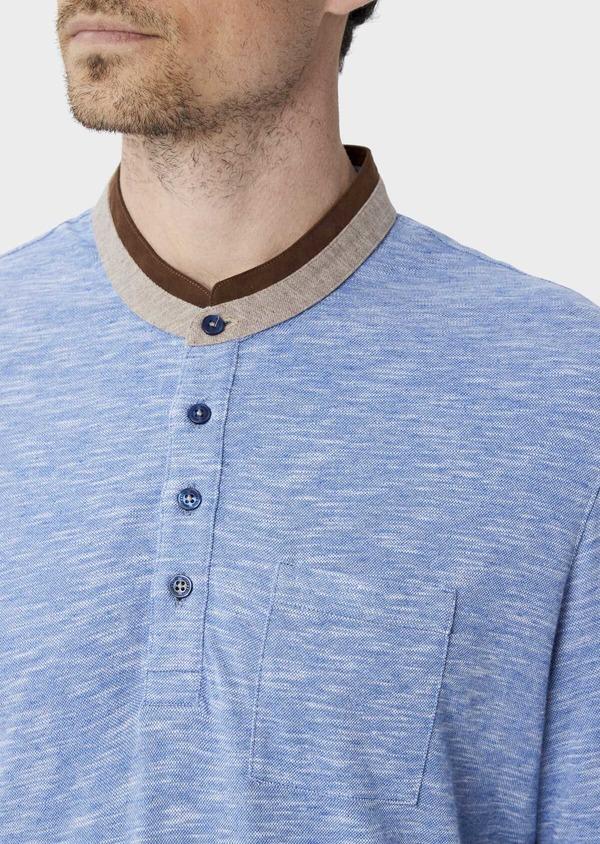 Polo manches longues Slim en coton uni bleu à col officier - Father and Sons 40023