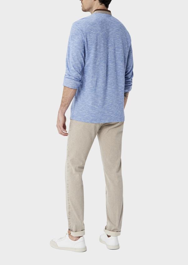 Polo manches longues Slim en coton uni bleu à col officier - Father and Sons 40022