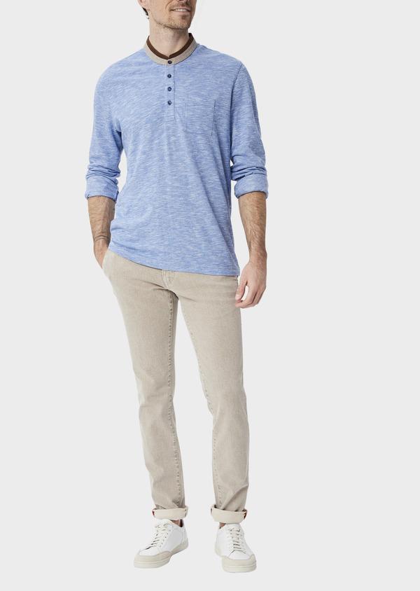 Polo manches longues Slim en coton uni bleu à col officier - Father and Sons 40021