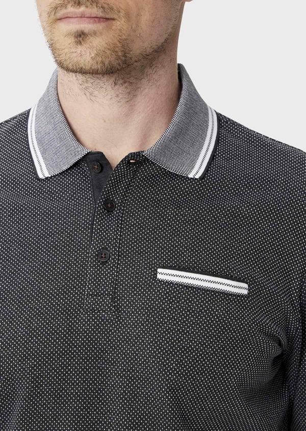 Polo manches longues Slim en coton noir à pois blancs - Father and Sons 40018