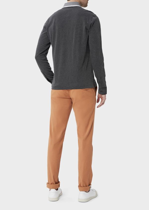 Polo manches longues Slim en coton noir à pois blancs - Father and Sons 40017