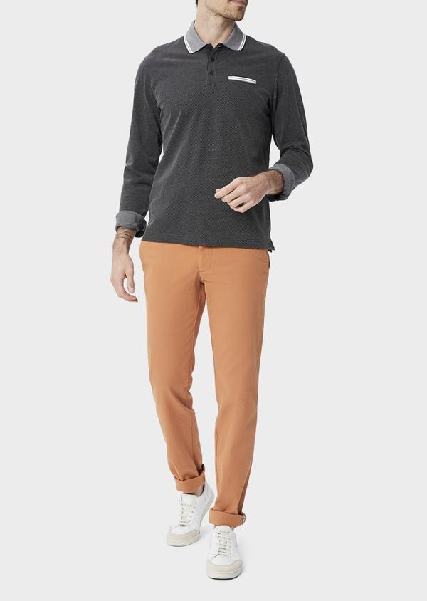 Polo manches longues Slim en coton noir à pois blancs - Father and Sons 40016
