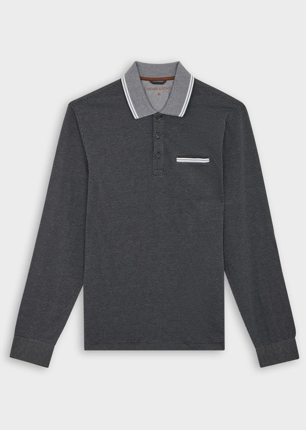 Polo manches longues Slim en coton noir à pois blancs - Father and Sons 40014