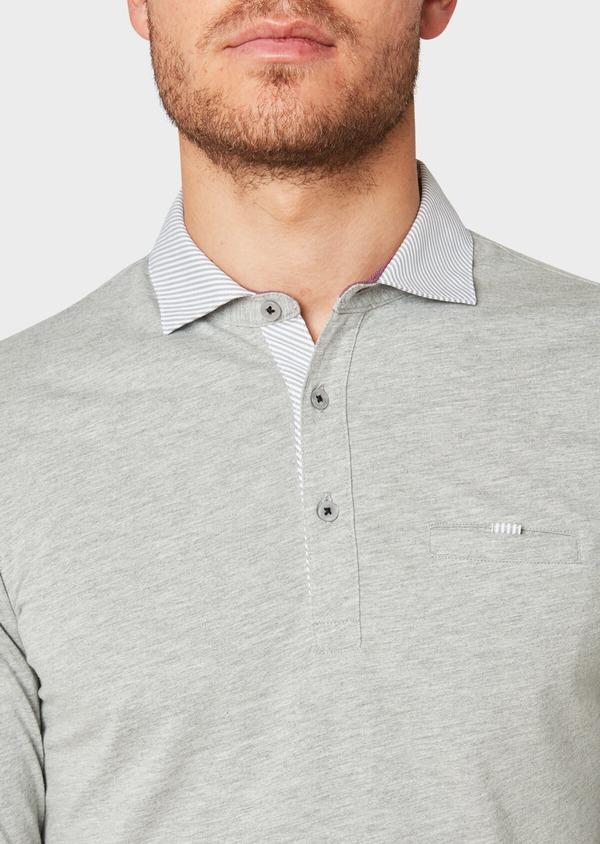Polo manches longues Slim en coton uni gris clair - Father and Sons 33471