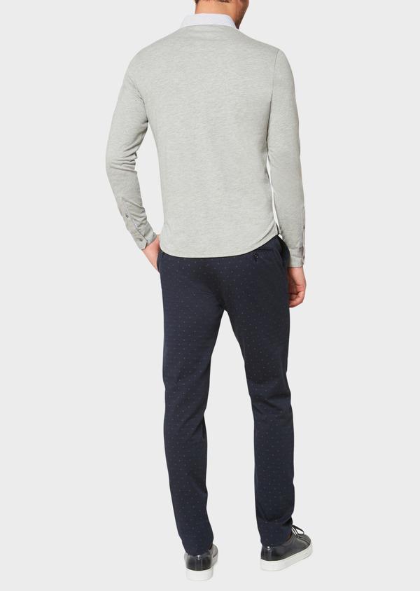 Polo manches longues Slim en coton uni gris clair - Father and Sons 33470