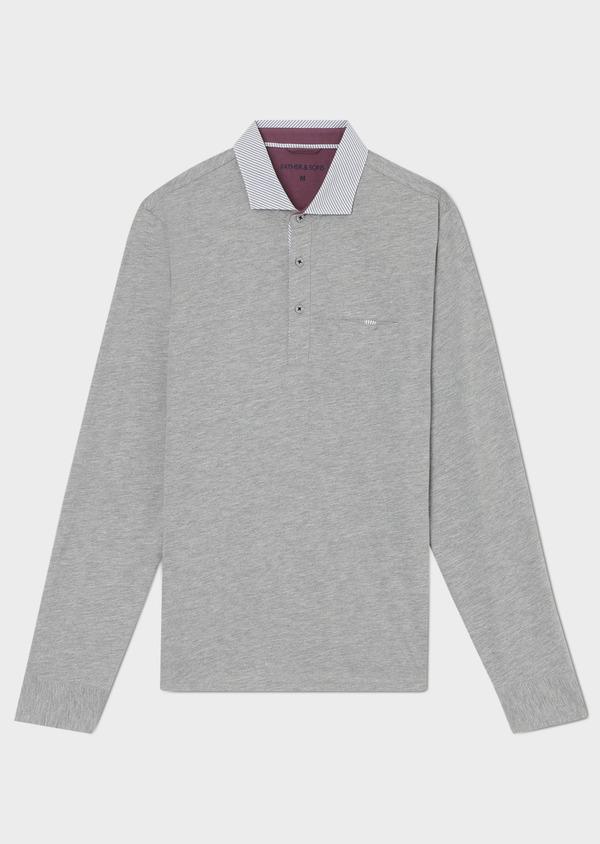 Polo manches longues Slim en coton uni gris clair - Father and Sons 33467