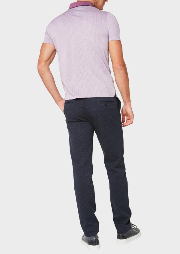 Polo manches courtes Slim en coton violet à motif fantaisie - Father and Sons 34023