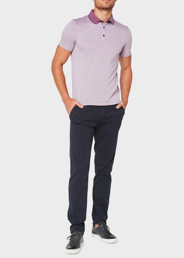 Polo manches courtes Slim en coton violet à motif fantaisie - Father and Sons 34022