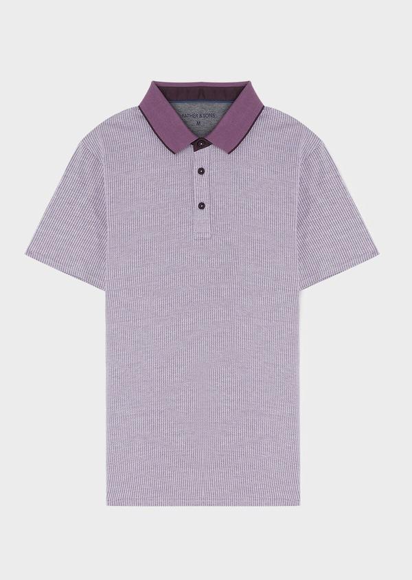 Polo manches courtes Slim en coton violet à motif fantaisie - Father and Sons 34020