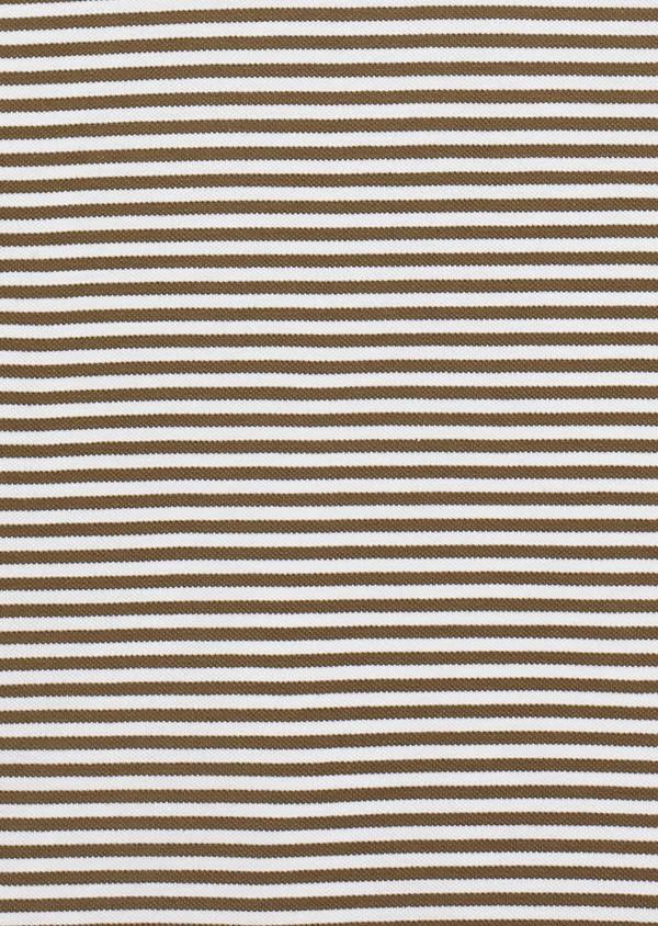 Polo manches courtes Slim en coton vert clair kaki à rayures - Father and Sons 33423