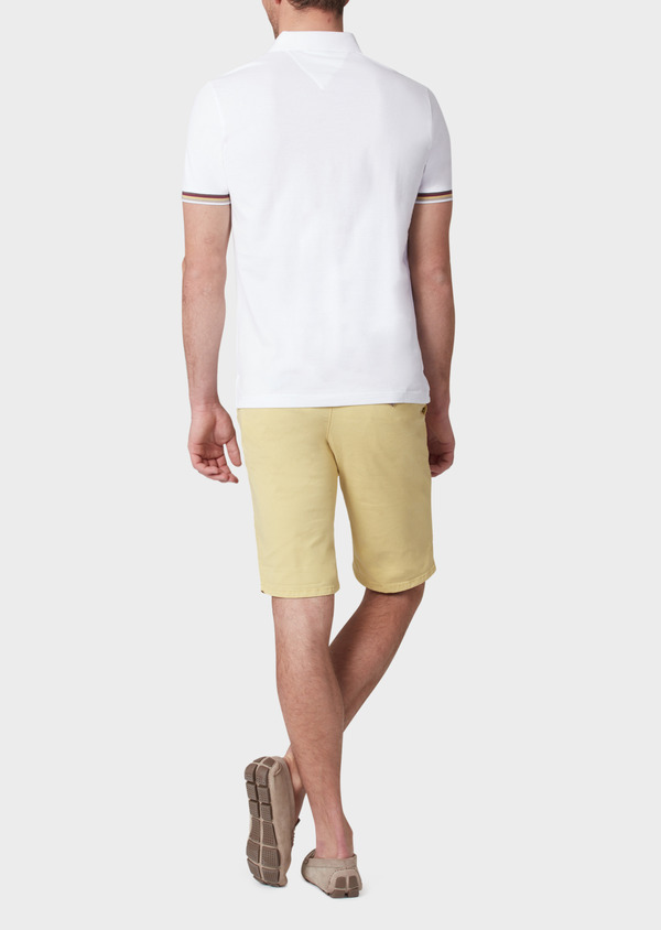 Polo manches courtes Slim en coton uni blanc - Father and Sons 33964