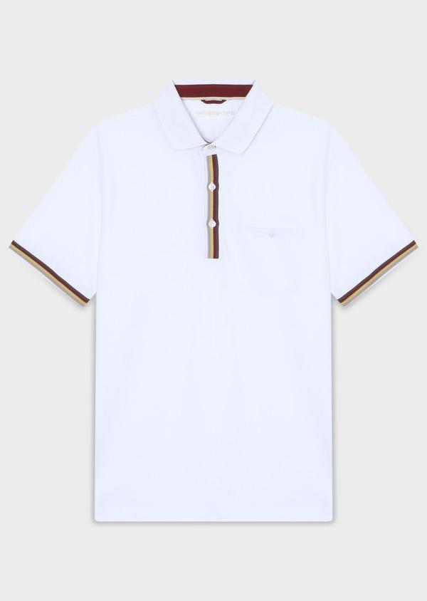 Polo manches courtes Slim en coton uni blanc - Father and Sons 33961