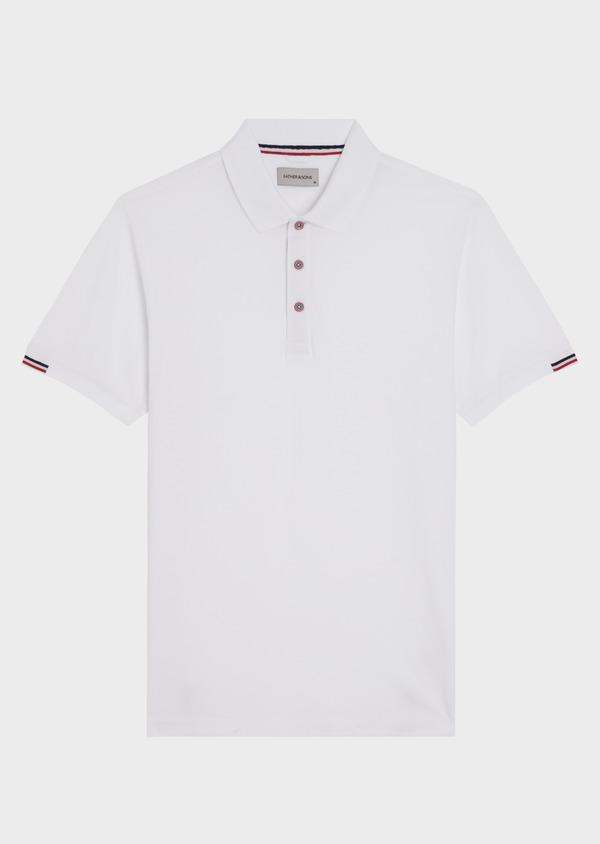 Polo manches courtes Slim en coton uni blanc - Father and Sons 34491
