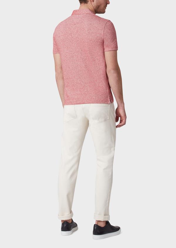 Polo manches courtes Slim en coton uni rouge chiné - Father and Sons 33994