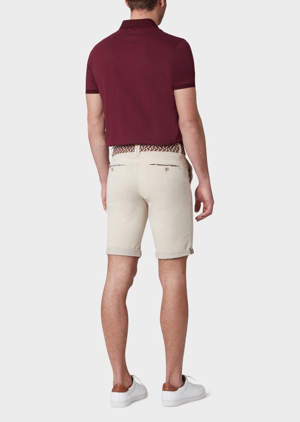 Polo manches courtes Slim en coton uni rouge foncé - Father and Sons 33984