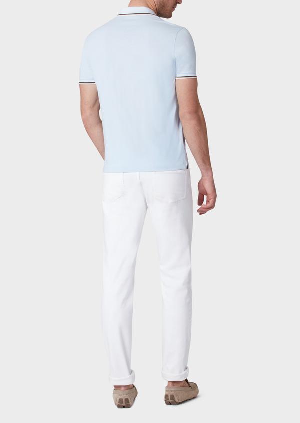 Polo manches courtes Slim en coton uni bleu ciel - Father and Sons 33949