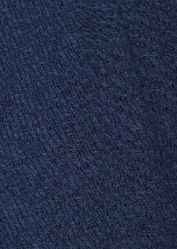 Polo manches courtes Slim en lin uni bleu jeans - Father and Sons 34165