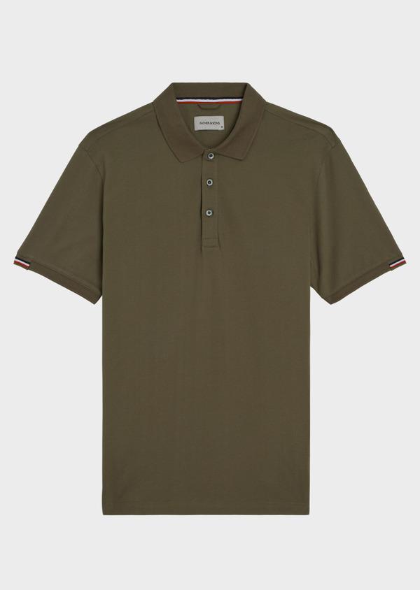 Polo manches courtes Slim en coton uni vert kaki - Father and Sons 34220
