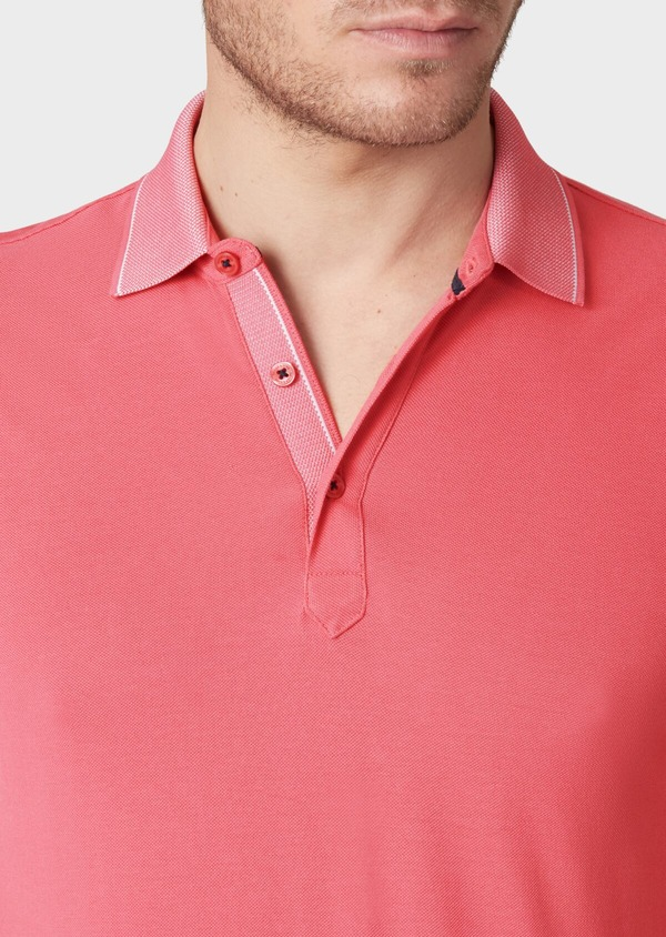 Polo manches courtes Slim en coton uni rose - Father and Sons 34163