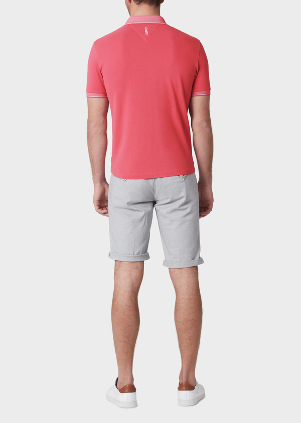Polo manches courtes Slim en coton uni rose - Father and Sons 34162