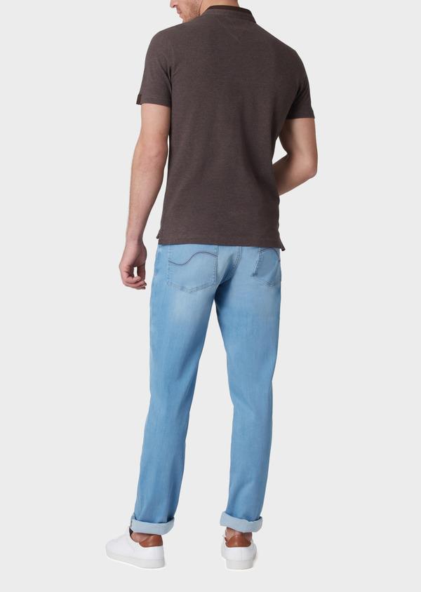Polo manches courtes Slim en coton uni marron - Father and Sons 34003