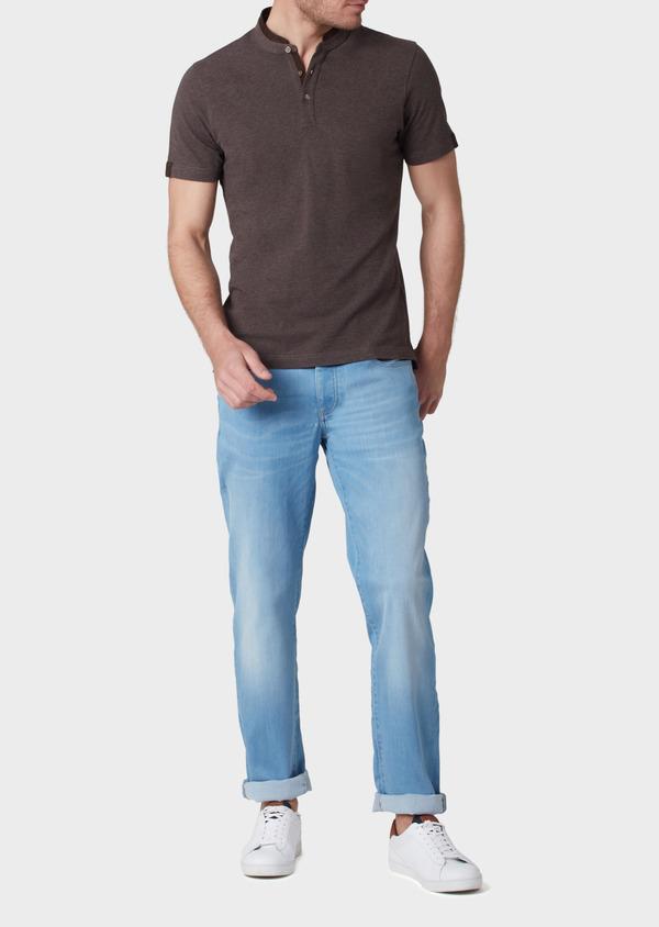 Polo manches courtes Slim en coton uni marron - Father and Sons 34002