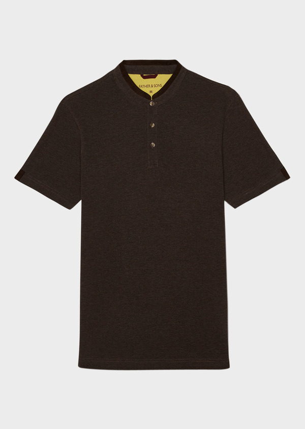 Polo manches courtes Slim en coton uni marron - Father and Sons 34000