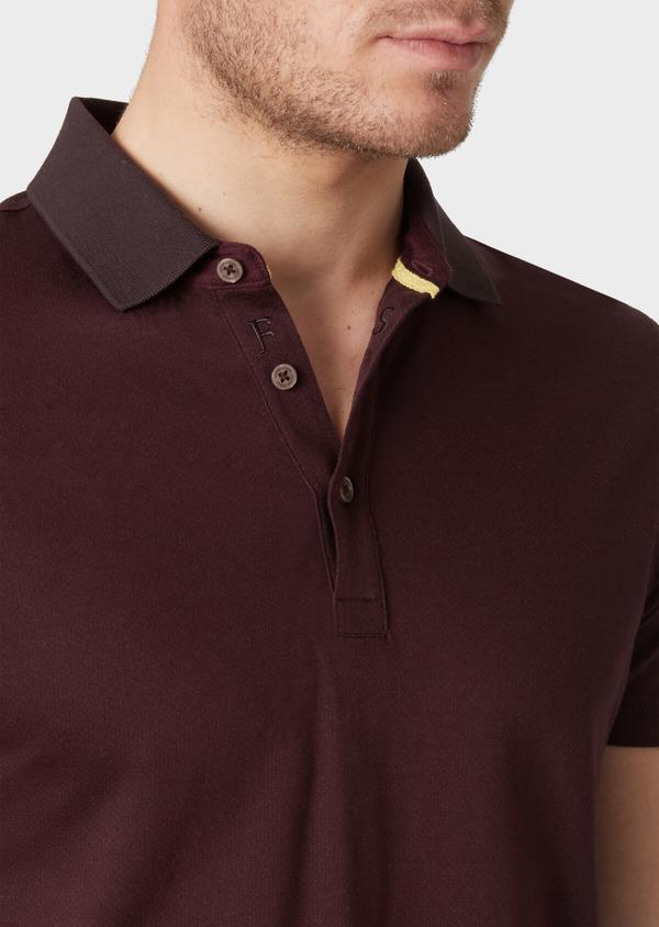 Polo manches courtes Slim en coton uni marron clair - Father and Sons 34009