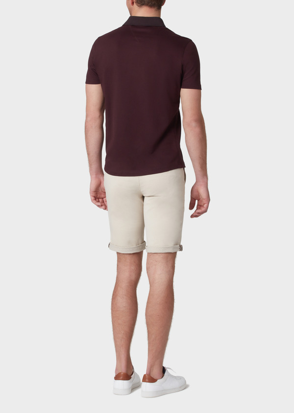 Polo manches courtes Slim en coton uni marron clair - Father and Sons 34008