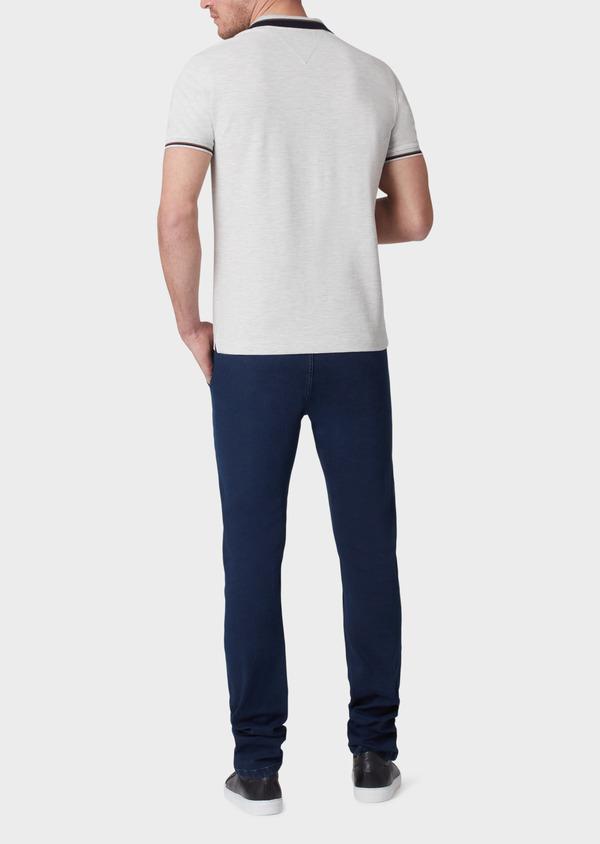 Polo manches courtes Slim en coton uni gris - Father and Sons 33954