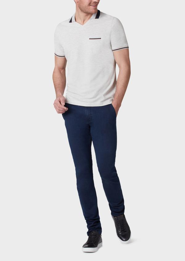Polo manches courtes Slim en coton uni gris - Father and Sons 33953