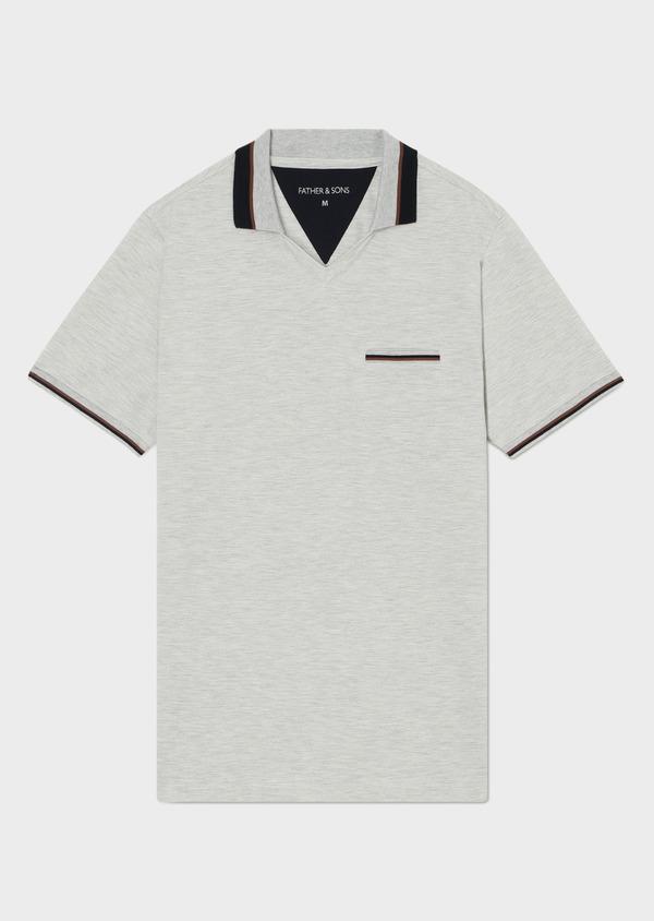 Polo manches courtes Slim en coton uni gris - Father and Sons 33951