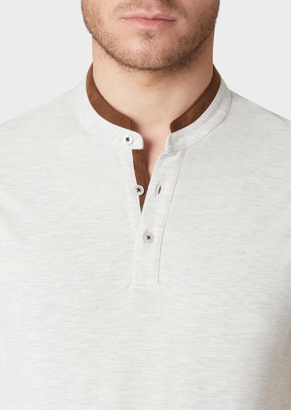 Polo manches courtes Slim en coton gris - Father and Sons 33999