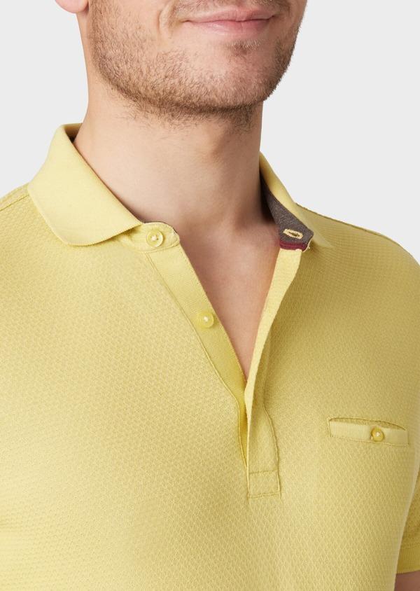 Polo manches courtes Slim en coton uni jaune - Father and Sons 40559